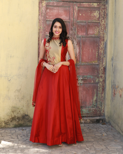 Red and Beige colour gown