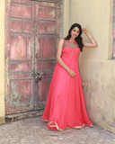 Beautiful pink colour georgette gown