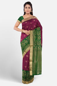 Wine pink silk saree with contrast designer border