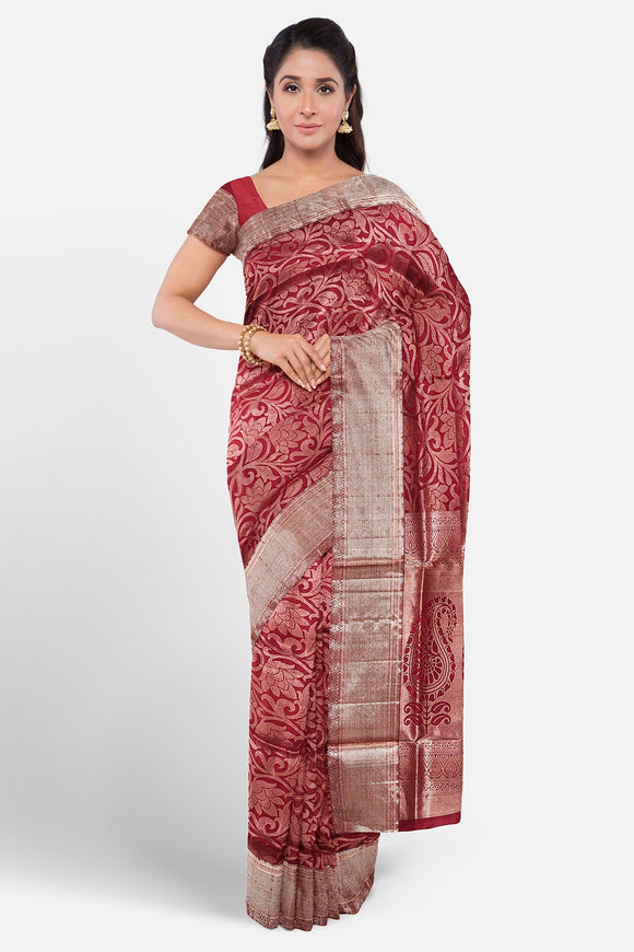 Maroon colour kanchipuran saree with full brocade weaving