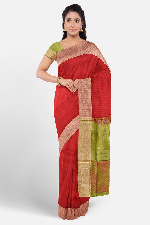 Red colour soft silk saree with stripes weaving