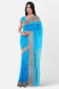 Blue colour silk saree with stripes design