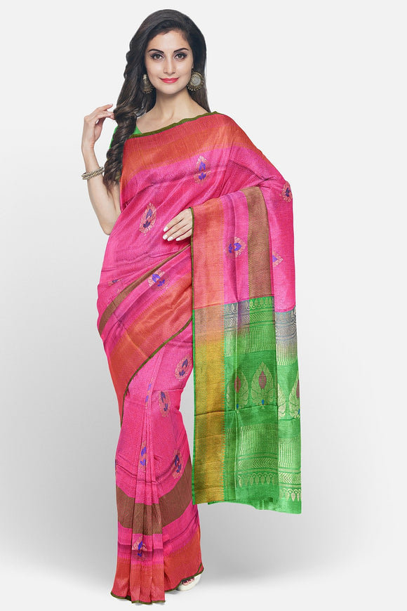 Pink colour soft silk saree