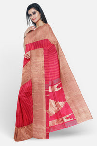 Pink colour jute silk saree with stripes design