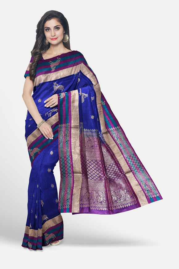 Blue colour silk saree with contrast border