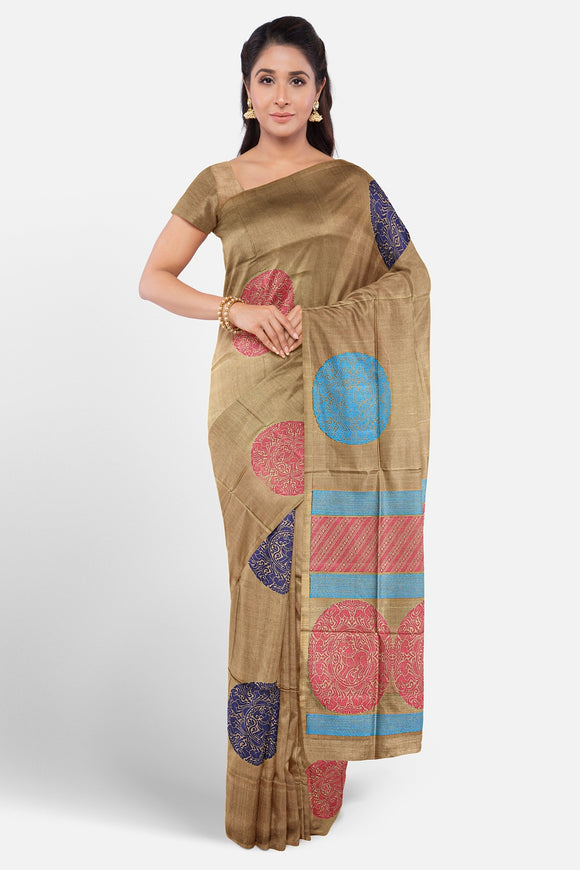 Beige colour soft silk saree with multi colour silk motifs