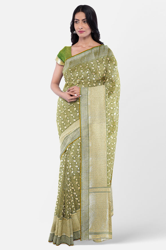 Green colour banaras fancy silk saree