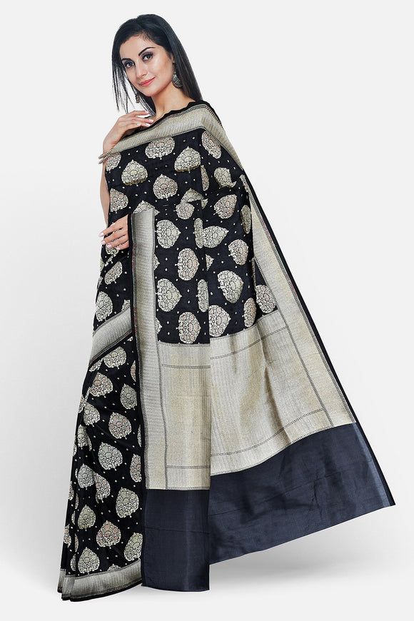 Black colour banarasi saree