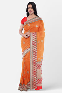 Banaras fancy silk saree with contrast border