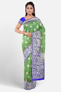 Green colour banarasi jute saere with blue border