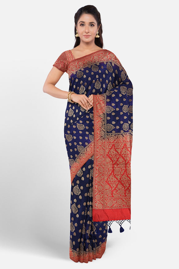 Dark blue banaras fancy silk saree with antique zari