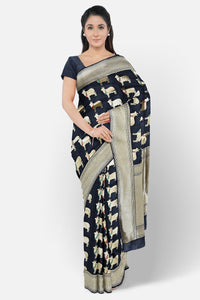 Black colour banaras fancy silk saree