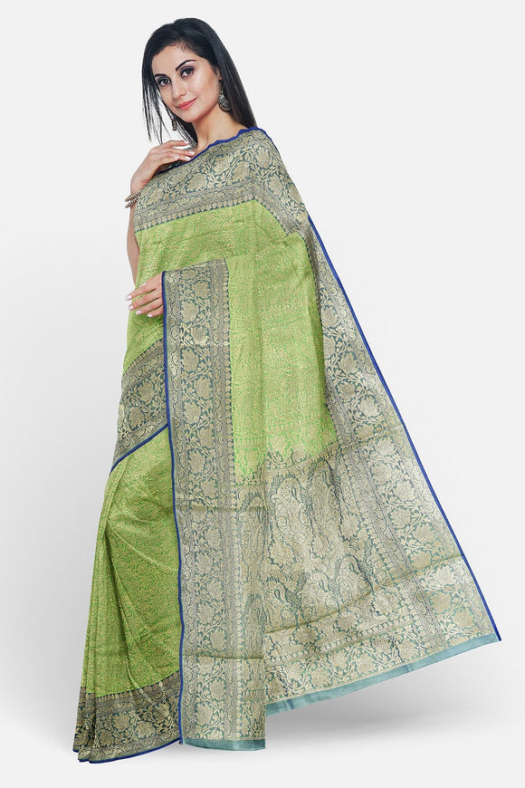 Parrot green tissue silk saree