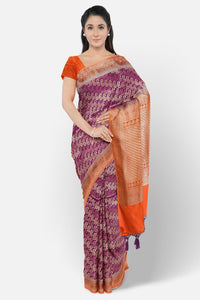 Pink colour soft fancy silk saree