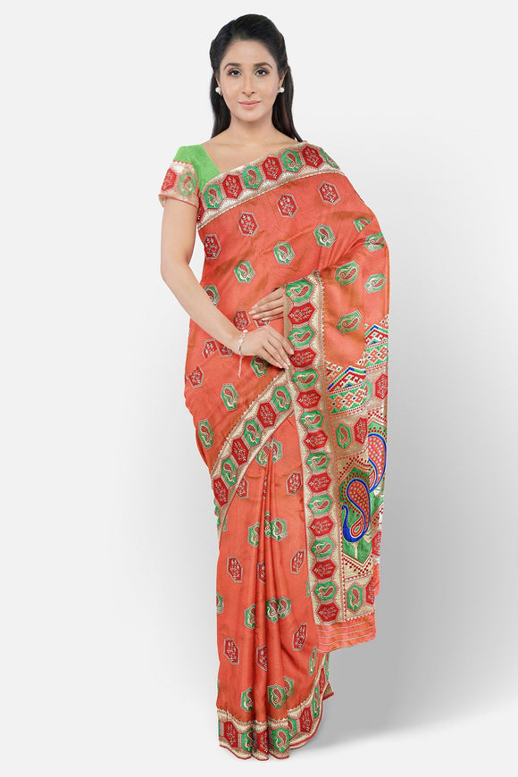 Banaras silk saree with meena border and butta weaving