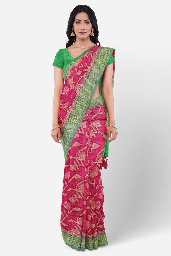 pink colour fancy silk saree