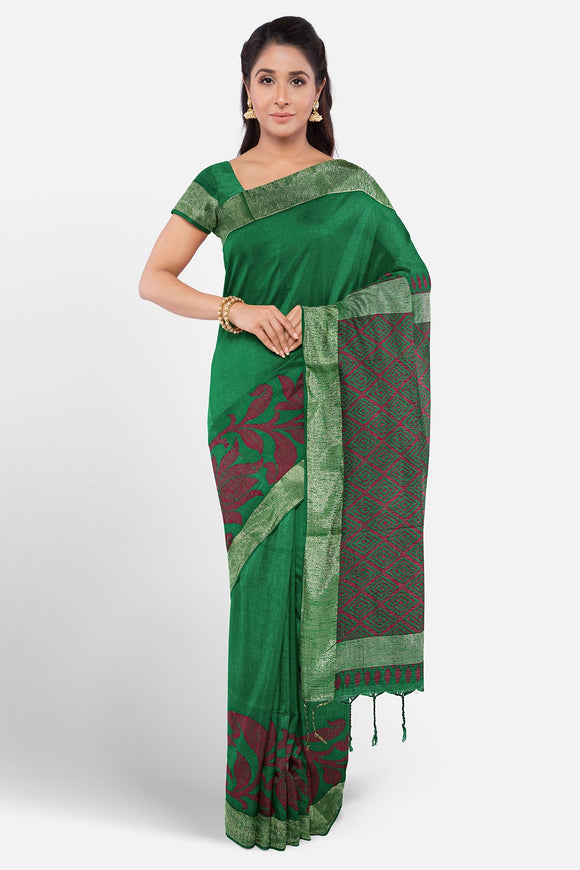 Green colour soft silk saree