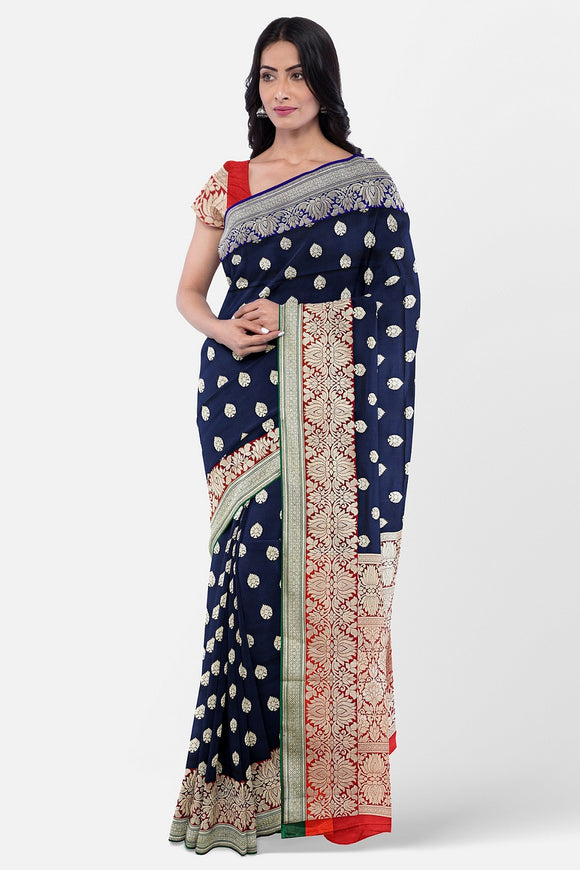 Navy blue banaras silk saree with contrast border