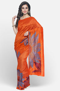 Soft silk saree with big floral border