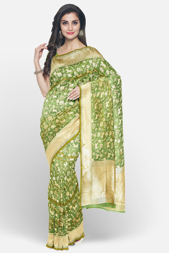 Green colour banaras silk saree