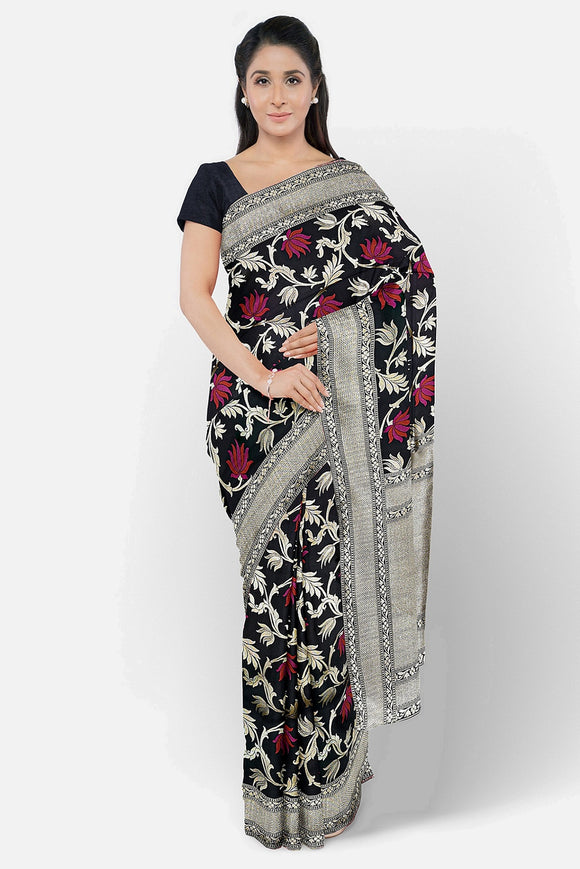 Black colour banaras silk saree with multi colour motifs