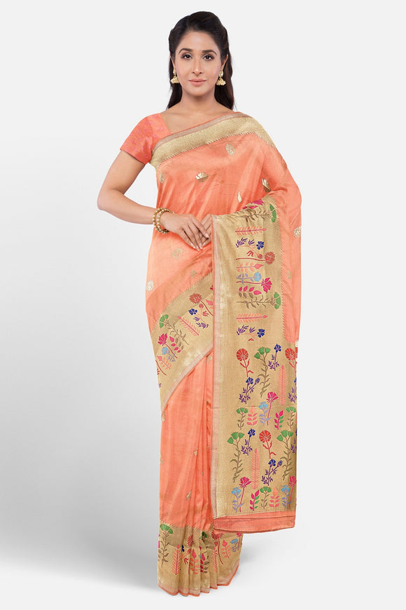 Banaras silk saree with Paithani border