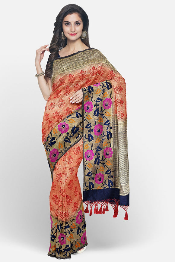 Chilli red banaras tissue saree with paithani border
