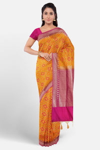 Orange colour silk saree