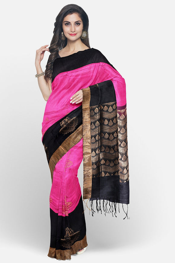 Pink colour pure silk saree with contrast border