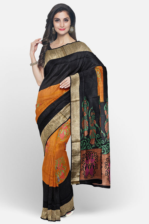 Mustard colour soft silk saree