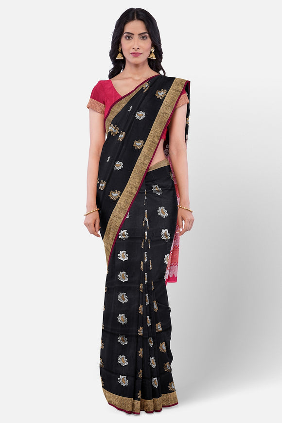 Black colour pure silk saree with silver and gold zari motifs