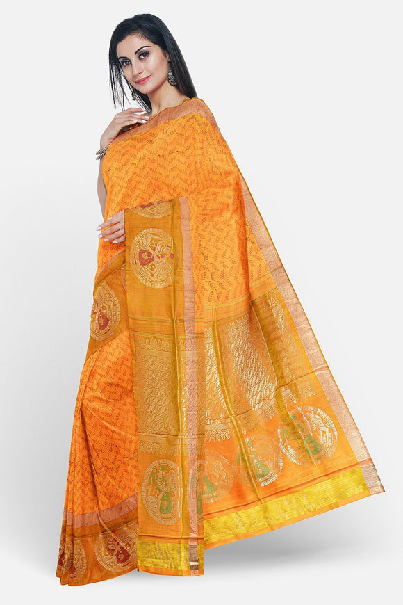 Mustard colour soft silk saree with big border design