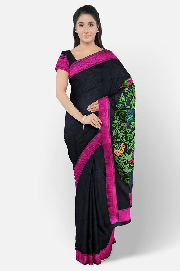 Black silk saree with designer pallu