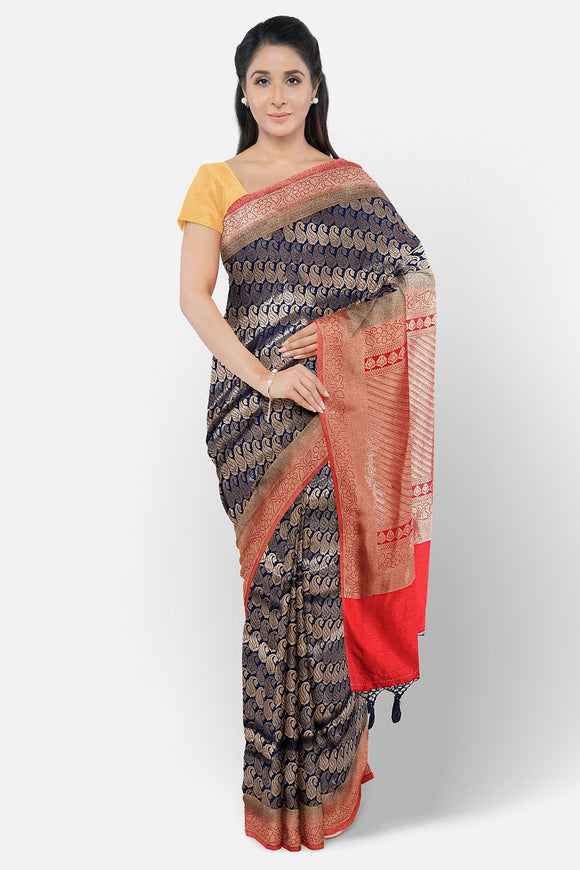 Dark blue fancy silk saree