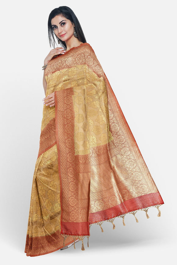Gold colour banaras silk saree with contrast red border