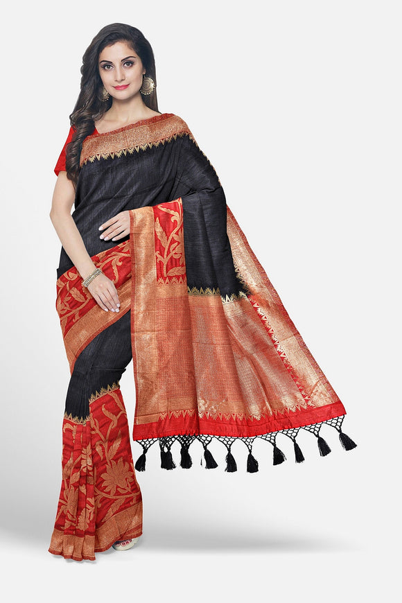 Black colour jute silk saree with big contrast border