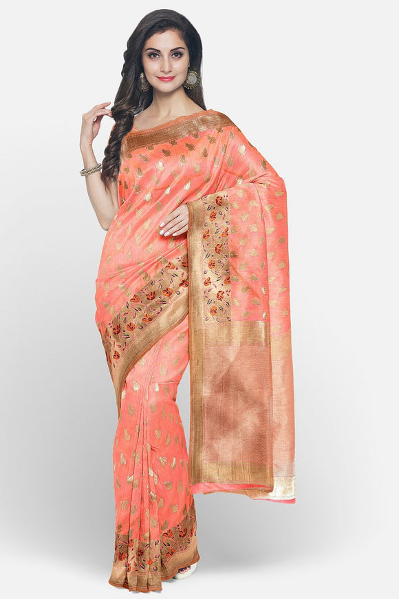 Pastel colour banaras silk saree with paithani border
