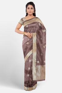 Grey colour banaras silk saree with silver and gold zari motifs