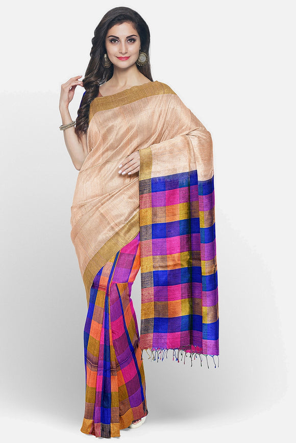 Half and half soft silk saree