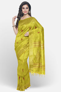 Mustard yellow soft silk saree