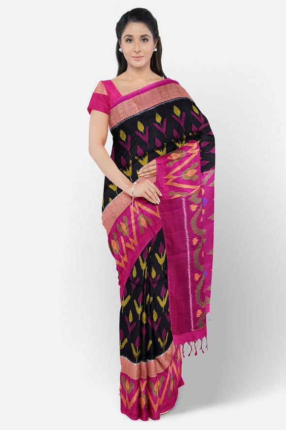 Pure pochampally black colour ikkat saree