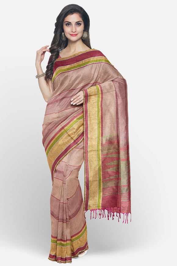 Soft silk saree with silk lines weaving