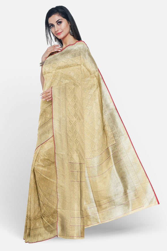 Beige colour banaras silk saree