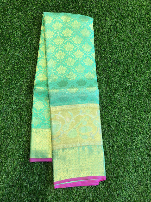 Pista green kanchipuram silk saree with self colour combination