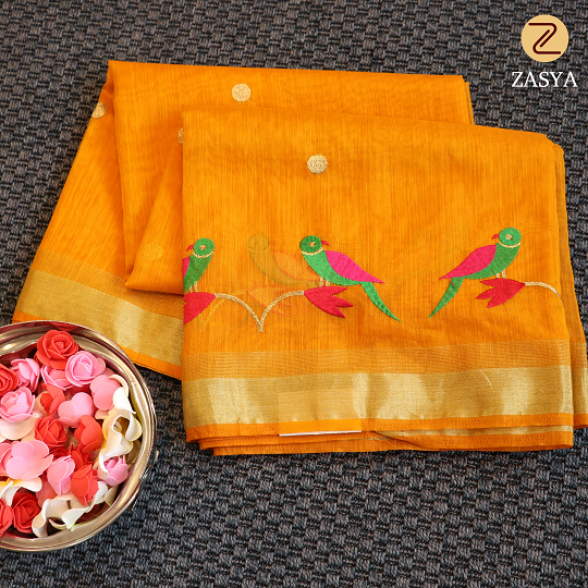 Mustard yellow colour kora saree with embroidery work