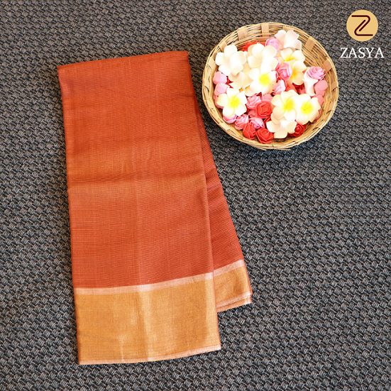 Red colour silk saree with zari lines design