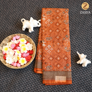 Kora saree with printed ikkat design