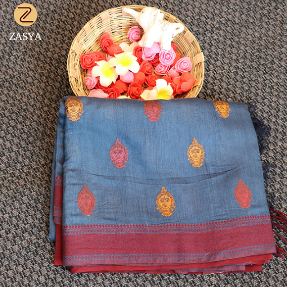 Pure linen saree with hand embroidery buttas