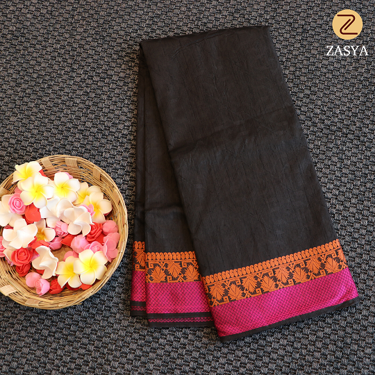 Black colour jute silk saree with self design