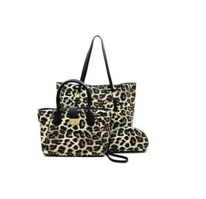 3-IN-1 MAGNETIC CLOSURE LEOPARD HANDBAG SET